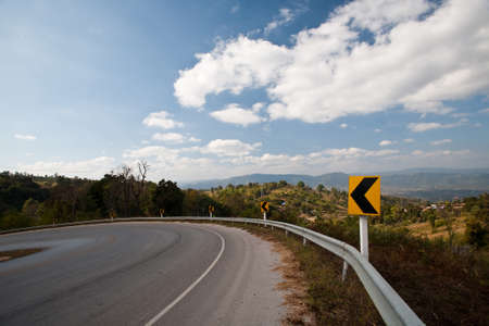 one lane: Mountain Road and cloud sky