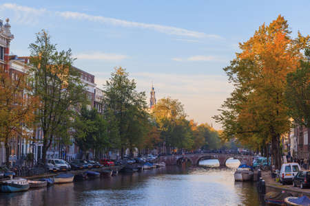 westerkerk: Western church on Prinsengracht canal in Amsterdam, The Netherlands