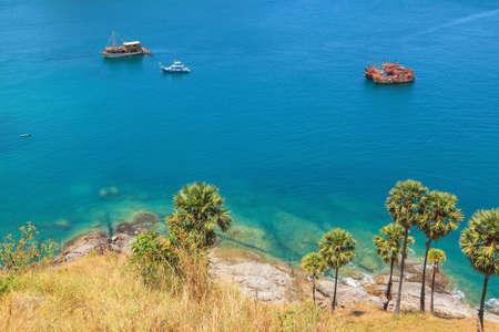 Landscape of Karon and Kata Beaches with blue sky background at  Phuket, Thailand. Stock Photo