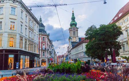 hauptplatz: Cityscape of Herrengasse shopping street in Graz, Autria