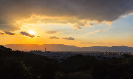Kyoto cityscape during sunset, arial view from Kiyomizu-dera temple, Japan Stock Photo