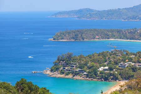 Landscape of Karon and Kata Beaches with blue sky background at  Phuket, Thailand. Stock Photo