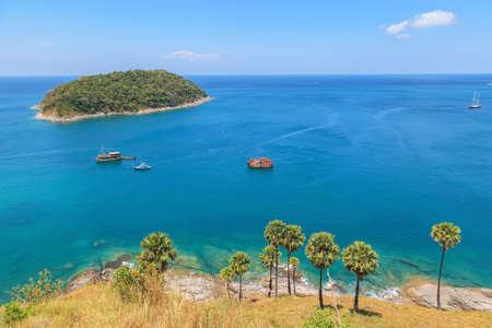 Seascape of Karon and Kata Beaches with blue sky background at  Phuket, Thailand. Stock Photo