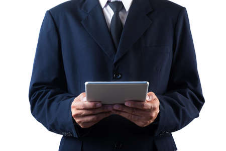 Business man holding tablet isolated on white background