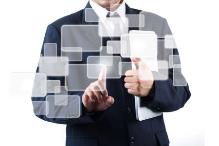 Business man holding laptop and pushing touch screen icon Imagens