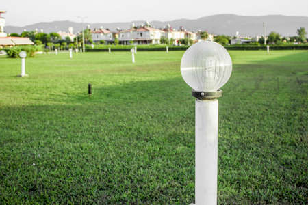 ordelijk: gras in de tuin netjes en ordelijk tuinverlichting