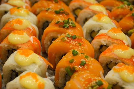 tuna mayo: Row of salmon sushi Stock Photo