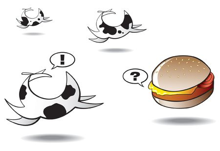 fresian: Fresian cows running away from a lonely hamburger