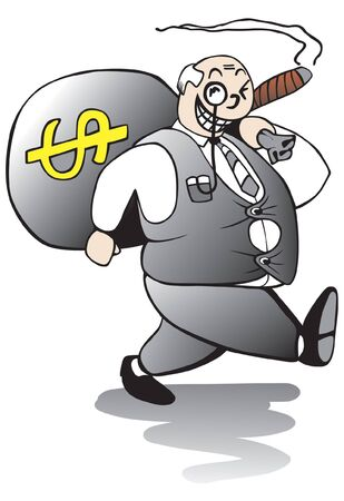 banker: Fat greedy banker walking away with a huge sack of ill gotten bonus money