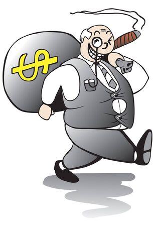 Vet hebzuchtig bankier weglopen met een grote zak van ziek geworden bonus geld Vector Illustratie