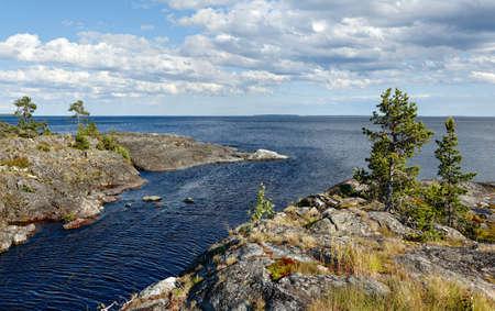 Summer landscape. The shore of Lake Ladoga