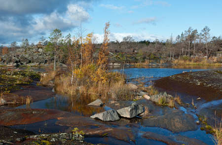 Autumn landscape. The shore of Lake Ladoga Stock Photo