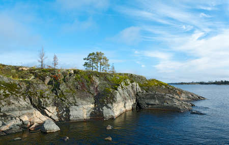 Stone beach. Lake Ladoga