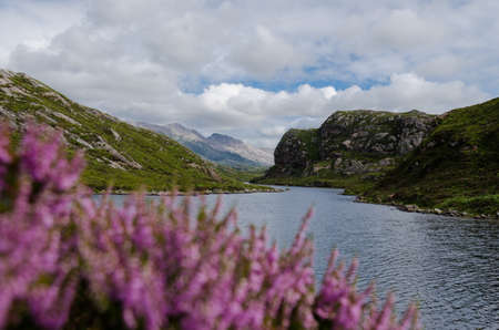 scottish lake  loch  in mountain scenery - stock photo photo