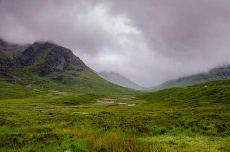glencoe: misty scottish scenery in glencoe  Stock Photo