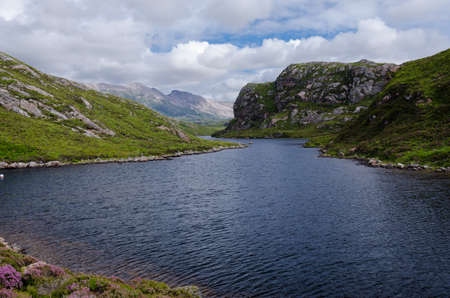 scottish lake  loch  in mountain scenery  photo
