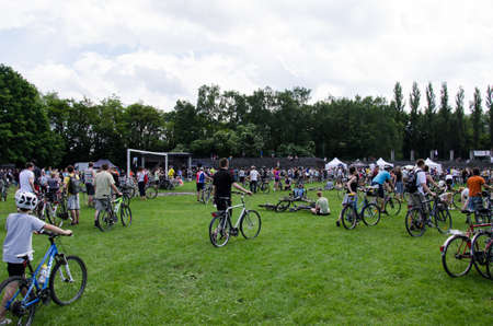 participants: POLAND, CRACOW - 9 JUNE 2013: mayor cycling event in Cracow with 3500 participants