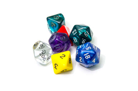 dungeons: role playing dices isolated on white background - stock photo