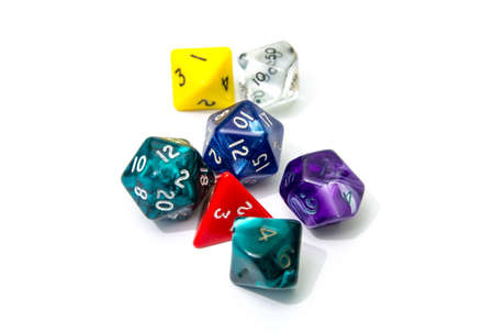 role playing: role playing dices isolated on white background - stock photo