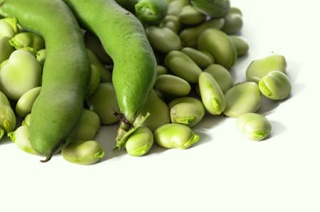 bakla: broad bean on white isolated background - stock photo