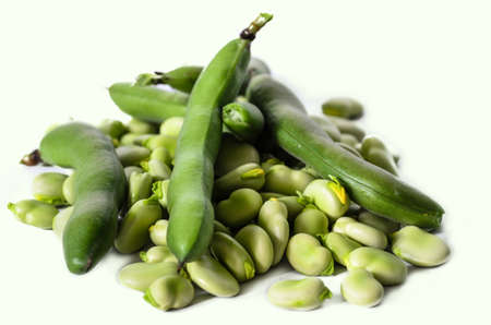 broad bean on white isolated background - stock photo