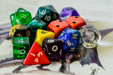 dungeons: role playing dices lying on picture background