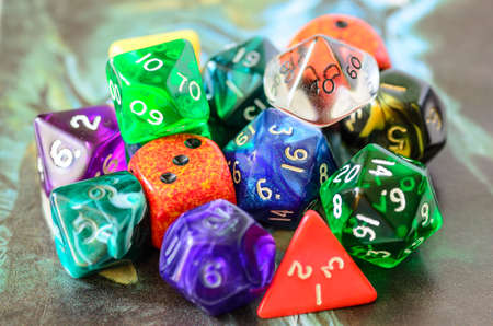 role playing: role playing dices lying on picture background