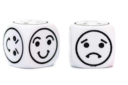 幸せ、悲しい表情で絵文字ダイス スケッチに孤立した白い背景 写真素材
