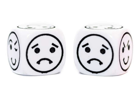 variability: emoticon dice with sad expression sketch isolated on white background