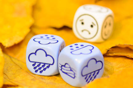 depressing and sad weather of autumn shown on dice weather lying on yellow leaves  - rain and fog - stock photo photo