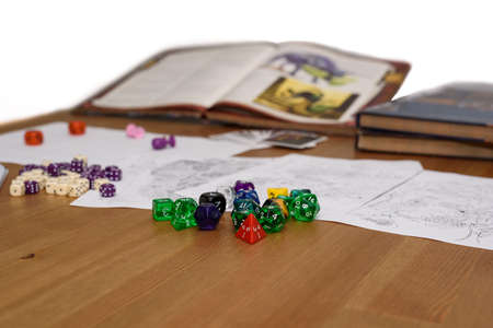 rpg: role playing game set up on table isolated on white  Stock Photo