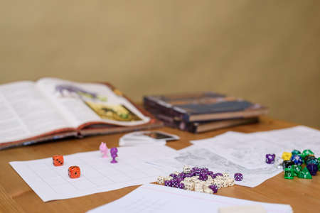 role playing game set up on table on beige  Stock Photo