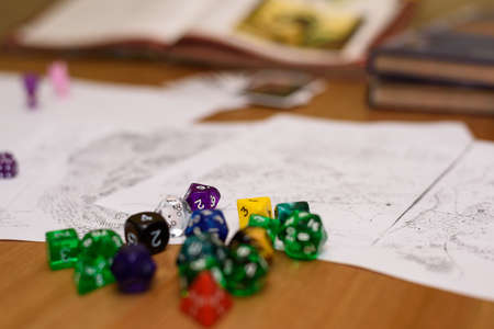 dungeons: role playing game set up on table - stock photo Stock Photo