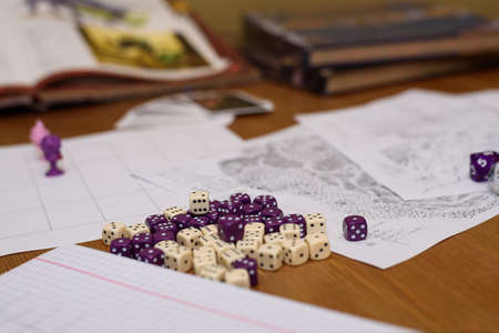 rpg: role playing game set up on table - stock photo Stock Photo