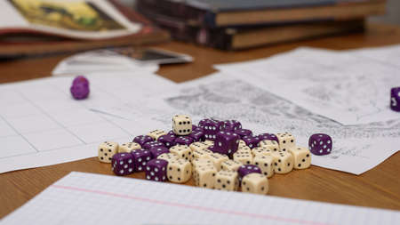 role: role playing game set up on table - stock photo Stock Photo