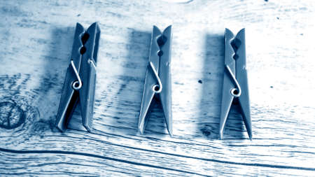 Clips for drying clothes indoors and outdoors.  Stock Photo