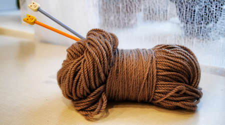 Yarn and knitting needles on the table in the room Archivio Fotografico