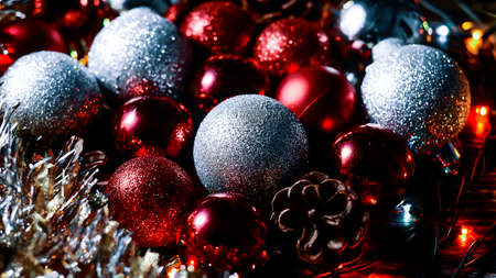 Christmas balls and tinsel to decorate the house. Colorful garla