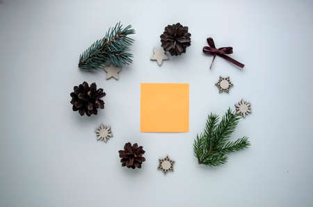 Christmas gifts and gifts for the holiday. Spruce branches and d Stock Photo