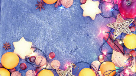 Background of Christmas decorations and gifts with multi-colored Stock Photo