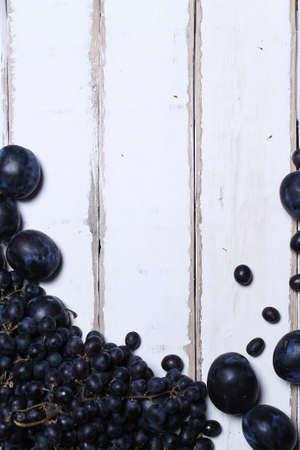 Fruits on a wooden table Standard-Bild