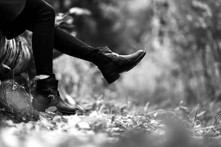 Boots for a walk in the Park. Autumn forest is beautiful. Yellow Stock Photo
