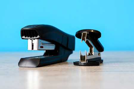 Stapler for office work on the table. Stationery item. Office su Stock Photo