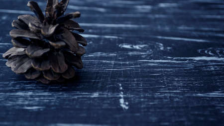 Composition of fir cones on the table. Natural background of nat