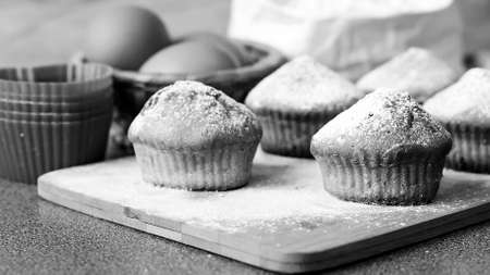 Fresh cupcake on the table baked at home. Delicious Breakfast fo