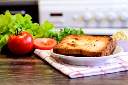 Toast for Breakfast sandwich with vegetables.