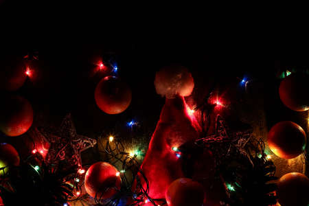 Background of Christmas decorations and gifts with multi-colored Imagens