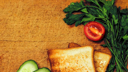 Fresh toast with tea on the table in the morning. Tasty food. To