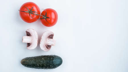 Background of natural products: vegetables, mushrooms herbs.