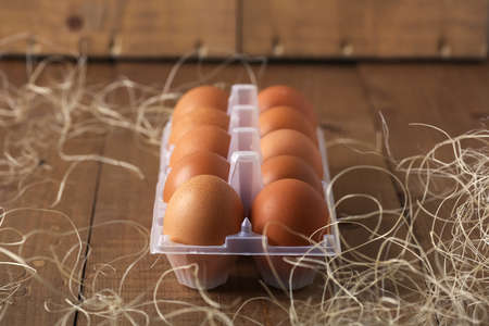 Eggs in the village on the table. The farms products. Fresh foo